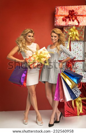 Two glamorous women holding gifts - stock photo