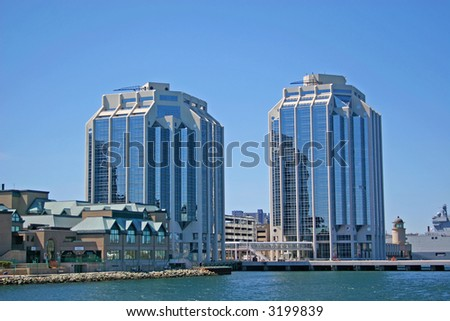 Two glass office towers on the waterfront of Halifax, Nova Scotia, Canada. - stock photo