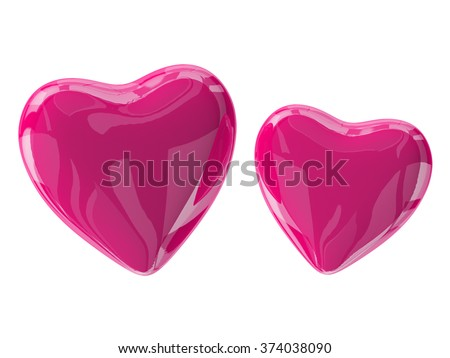 Two glass pink valentine's hearts isolated on white. 3d render with HDR - stock photo