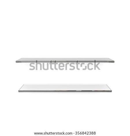 two glass shelfs on white background - stock photo