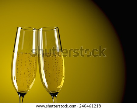 two glass with champagne on a  table
