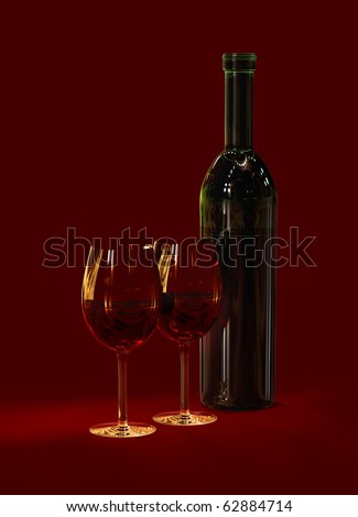 two glasses and bottle with red wine for celebration of holiday