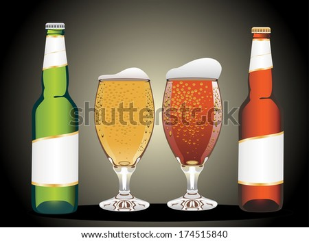 Two glasses and Bottles of fresh light beer
