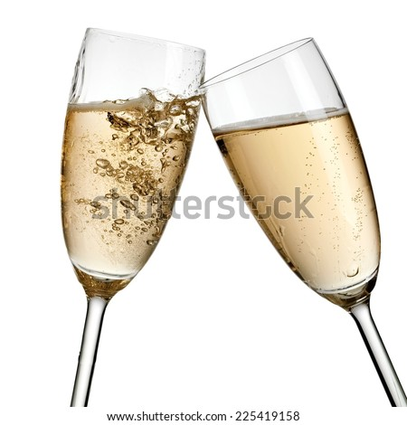 Two glasses champagne - stock photo