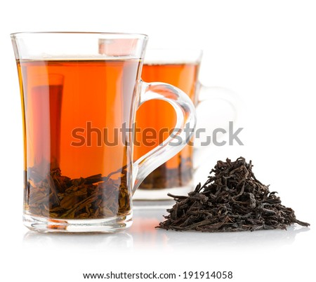 two glasses cup with black tea isolated on a white background - stock photo