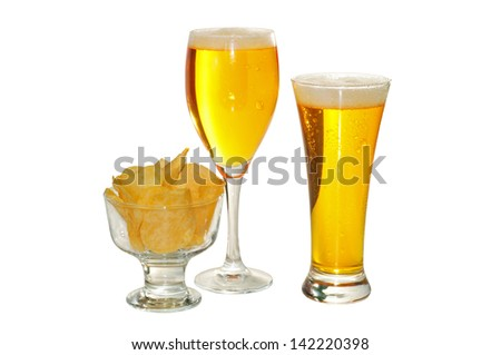 two glasses of beer, and a bowl of fried potatoes