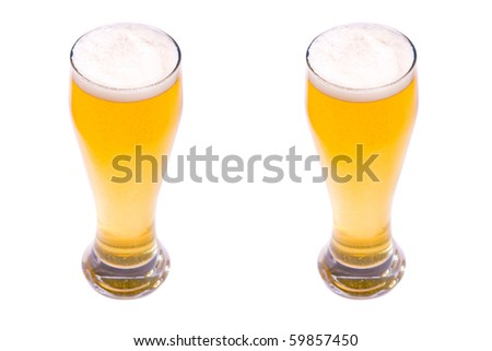 Two Glasses of beer on a white background
