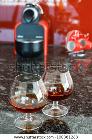 Two glasses of brandy - stock photo