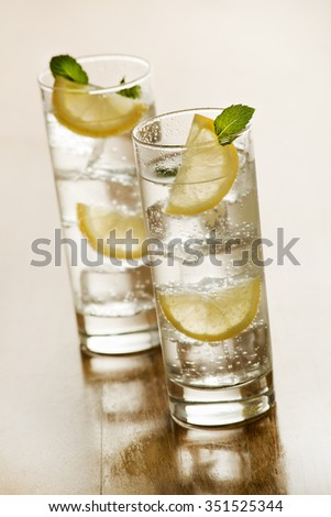 Two glasses of Fresh Mineral water with ice and lemon.