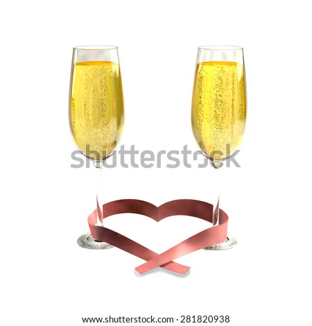 Two glasses of good champagne and a ribbon heart shaped on a black background - stock photo