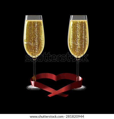 Two glasses of good champagne and a ribbon heart shaped on a white background which symbolizes love. - stock photo