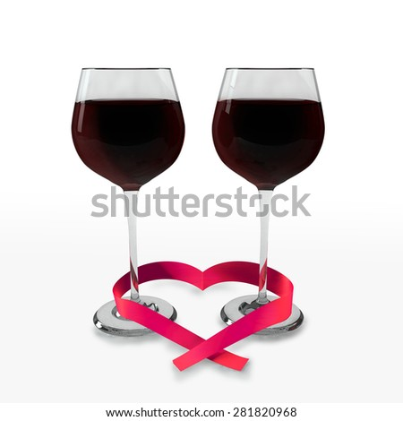 Two glasses of good red wine and a ribbon heart shaped on a white background which symbolizes tasting time and love. - stock photo