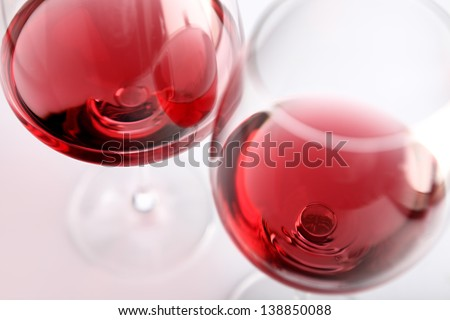 two glasses of red wine - stock photo