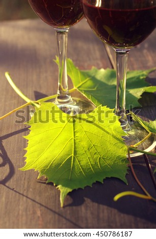 Two glasses of red wine and grape leaves on a wooden surface in beams of the setting sun