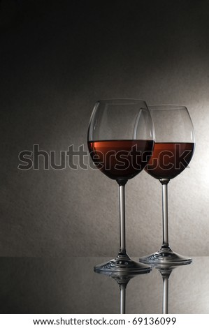 Two glasses of red wine close up