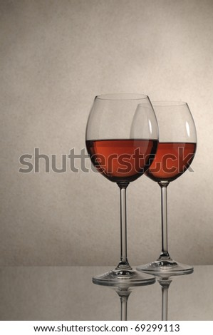 Two glasses of red wine close up Image
