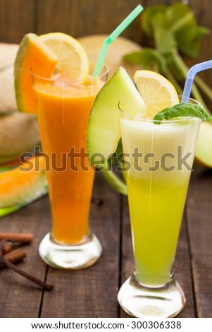 Two glasses of refreshing melon juices