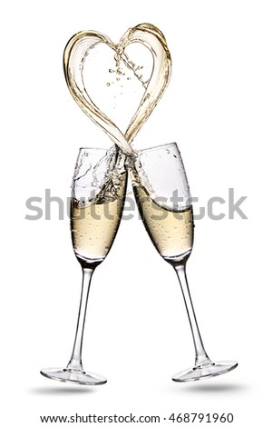 Two glasses of rose champagne with heart shape splash isolated on a  white background