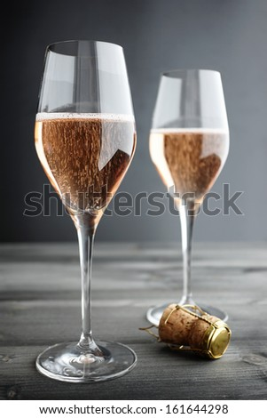 Two Glasses of Rose, Pink Champagne, selective focus - stock photo