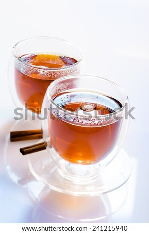 Two glasses of tea - stock photo
