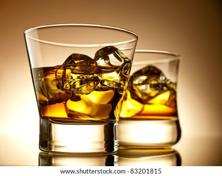 Two glasses of whiskey - stock photo
