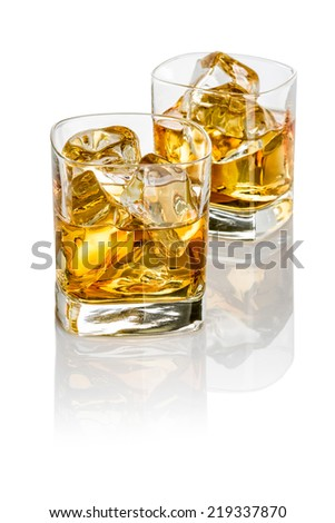 Two glasses of whisky - stock photo