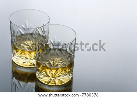 Two Glasses  of Whisky on a Reflective Surface with Copy Space