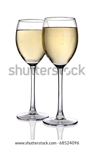 Two glasses of white wine (clipping path included)