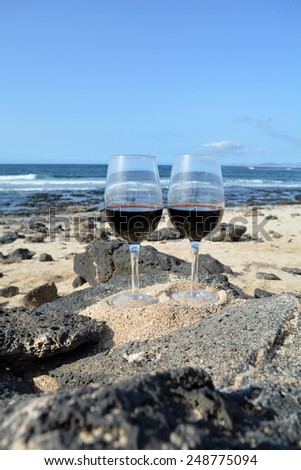 Two Glasses Of Wine  In Paradise Island
