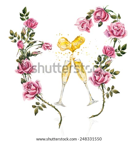 Two glasses. Splashes in the form of heart.  Champagne with roses. Wedding composition. Valentine day. Watercolor hand drawn illustration. - stock photo