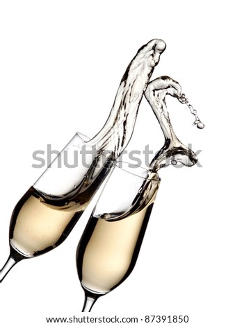 Two glasses with champagne up - stock photo