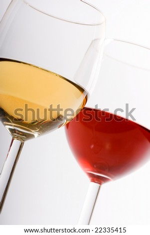 Two glasses with red and white wine