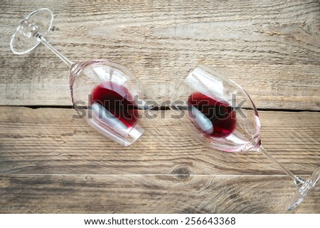Two glasses with red wine - stock photo