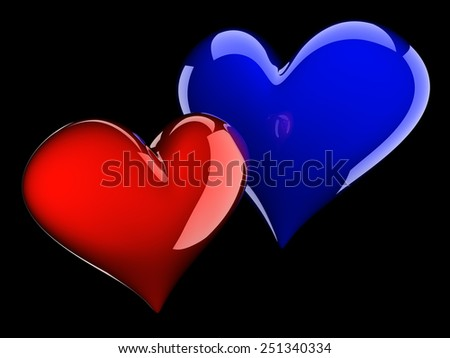 two glossy hearts isolated on black - stock photo
