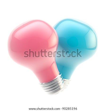 Two glossy pink and blue bulbs forming a shape of symbolic heart isolated on white