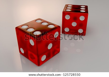 Two glossy red plastic bouncing dices showing numbers six, closeup - stock photo
