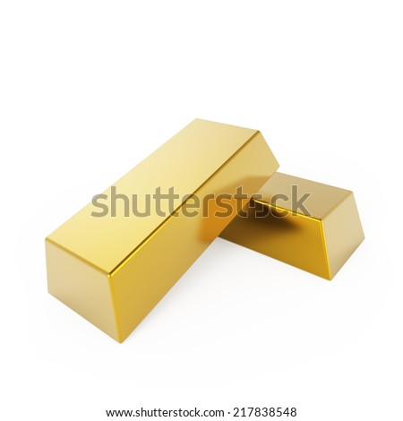 Two gold bars isolated on white background. - stock photo