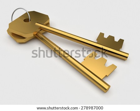 Two gold conceptual keys over white background - stock photo