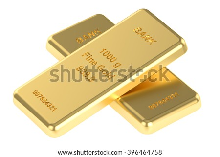 Two gold ingots, 3D rendering - stock photo