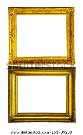 Two gold picture frames. Isolated over white background with clipping path - stock photo