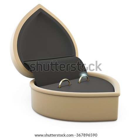 Two gold rings in a rings box on a white background. 3d rendering. - stock photo