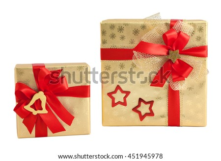 Two gold shiny paper wrap red star bell decorated bow gift box present christmas birthday isolated - stock photo