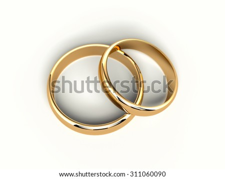 two gold wedding rings isolated on white background