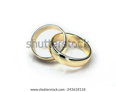 two gold wedding rings isolated on white background. yellow and white gold