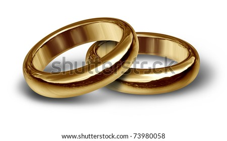 Two gold wedding rings resting on an isolated background representing the start of a new life and relationship. - stock photo