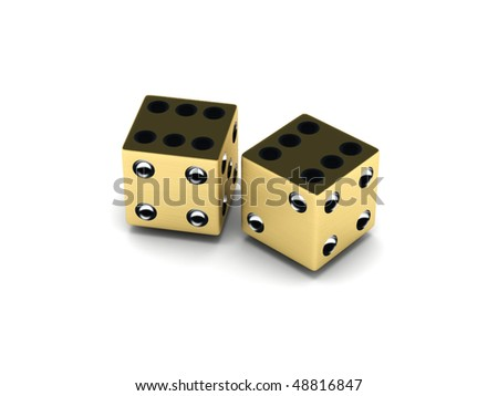 Two golden dice isolated on white background. High quality 3d render.