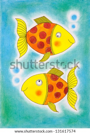 Two golden fish, child's drawing, watercolor painting on paper - stock photo