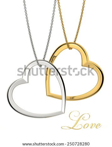 Two golden heart pendant isolated on white background. Love symbol of Valentine day. High resolution 3d render - stock photo