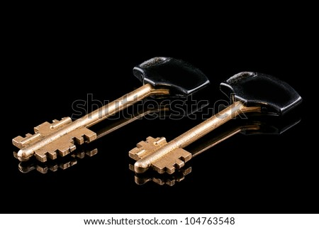 Two golden metal key, isolated on a black background.