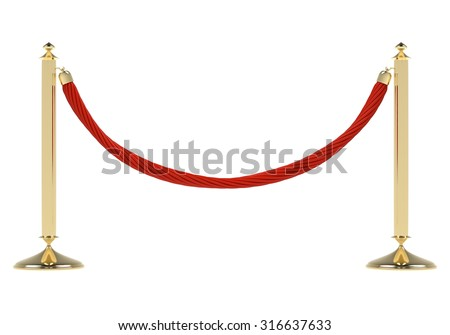 two golden stanchions with a red rope isolated on white background barrier enclosed